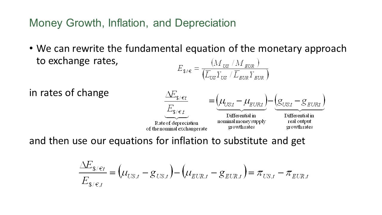 We can rewrite the fundamental equation of the monetary approach to exchange rates, in rates of change and then use our equations for inflation to sub