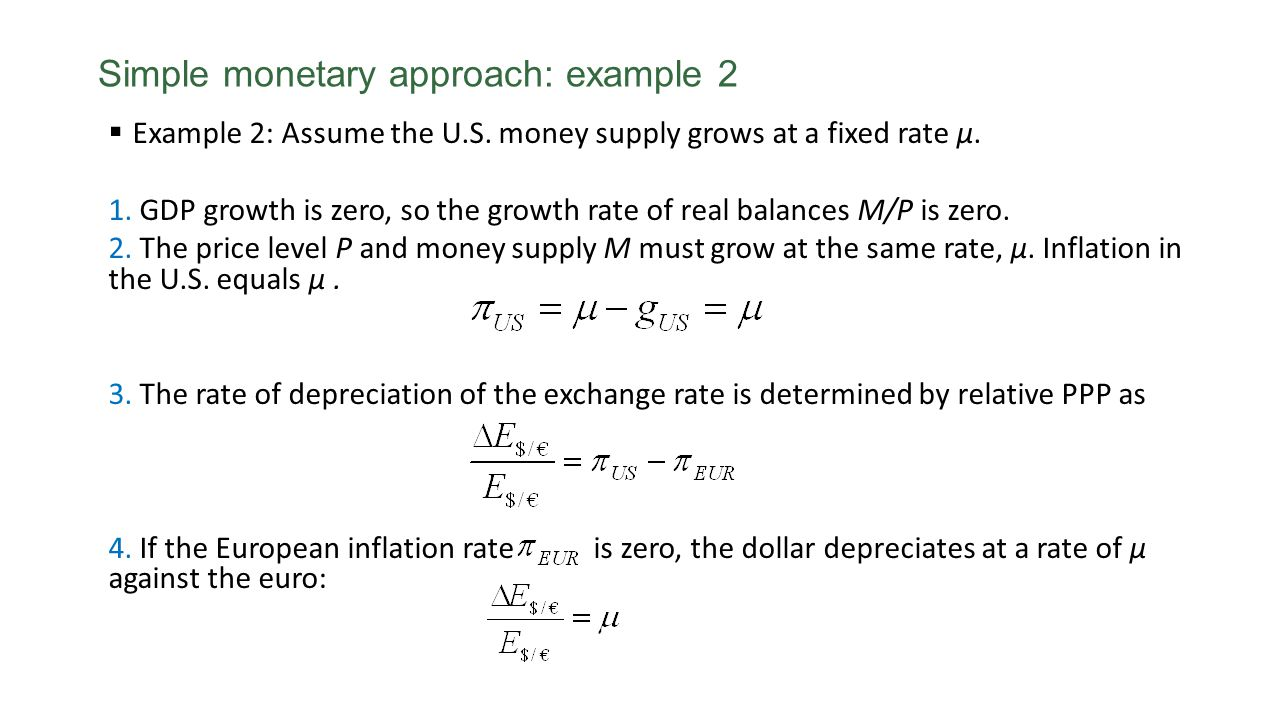 Example 2: Assume the U.S. money supply grows at a fixed rate μ. 1. GDP growth is zero, so the growth rate of real balances M/P is zero. 2. The price