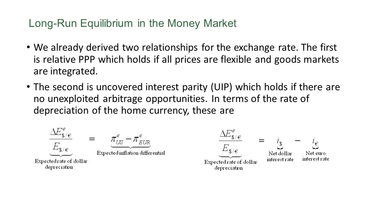 Long-Run Equilibrium in the Money Market We already derived two relationships for the exchange rate. The first is relative PPP which holds if all pric