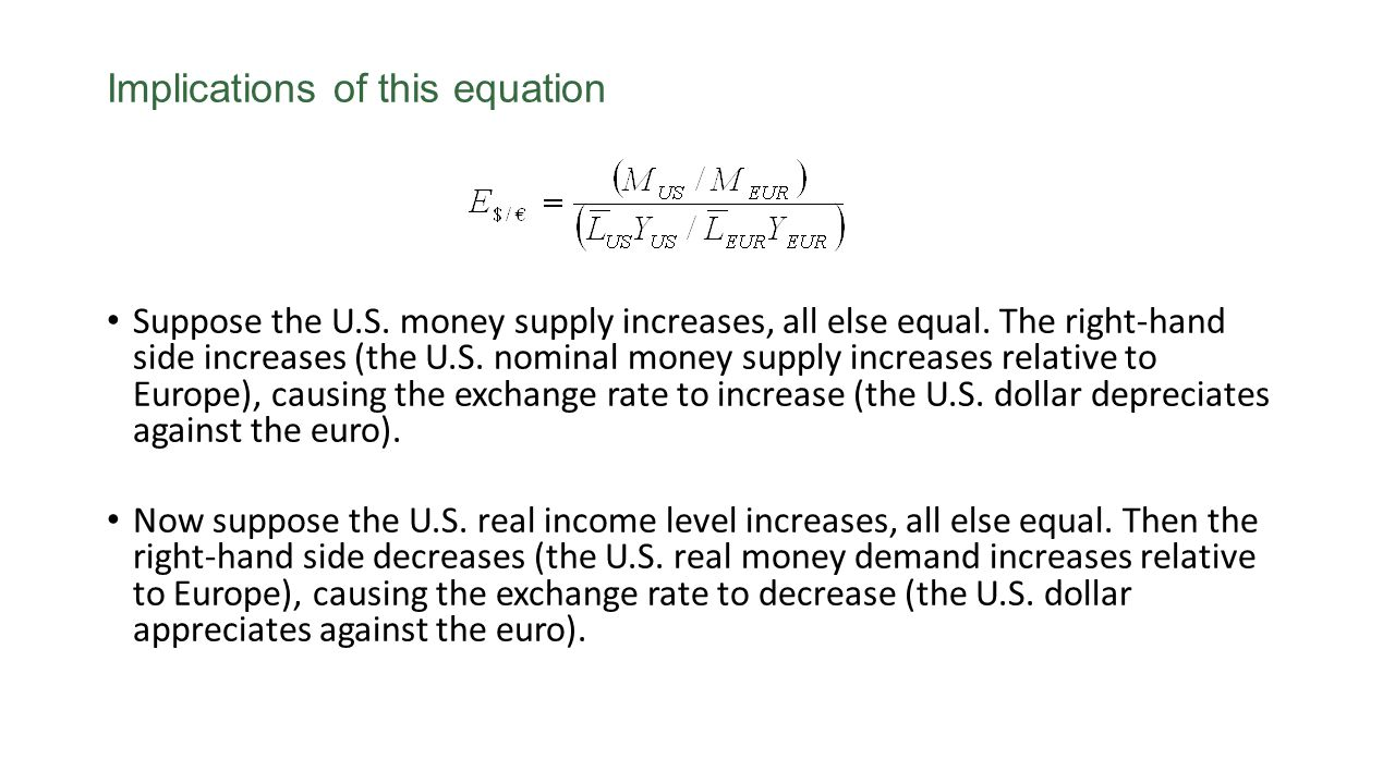 Implications of this equation Suppose the U.S. money supply increases, all else equal. The right-hand side increases (the U.S. nominal money supply in