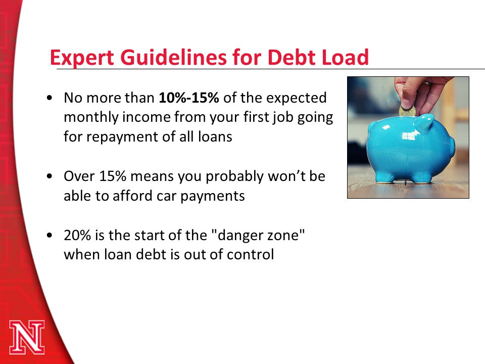 Expert Guidelines for Debt Load No more than 10%-15% of the expected monthly income from your first job going for repayment of all loans Over 15% mean