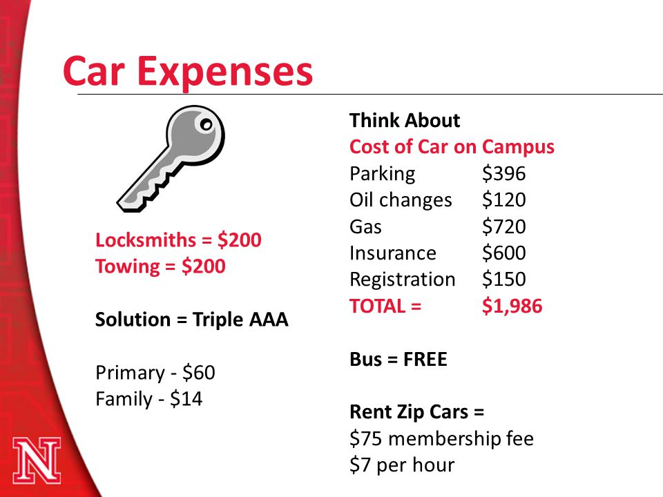 Car Expenses Locksmiths = $200 Towing = $200 Solution = Triple AAA Primary - $60 Family - $14 Think About Cost of Car on Campus Parking $396 Oil chang