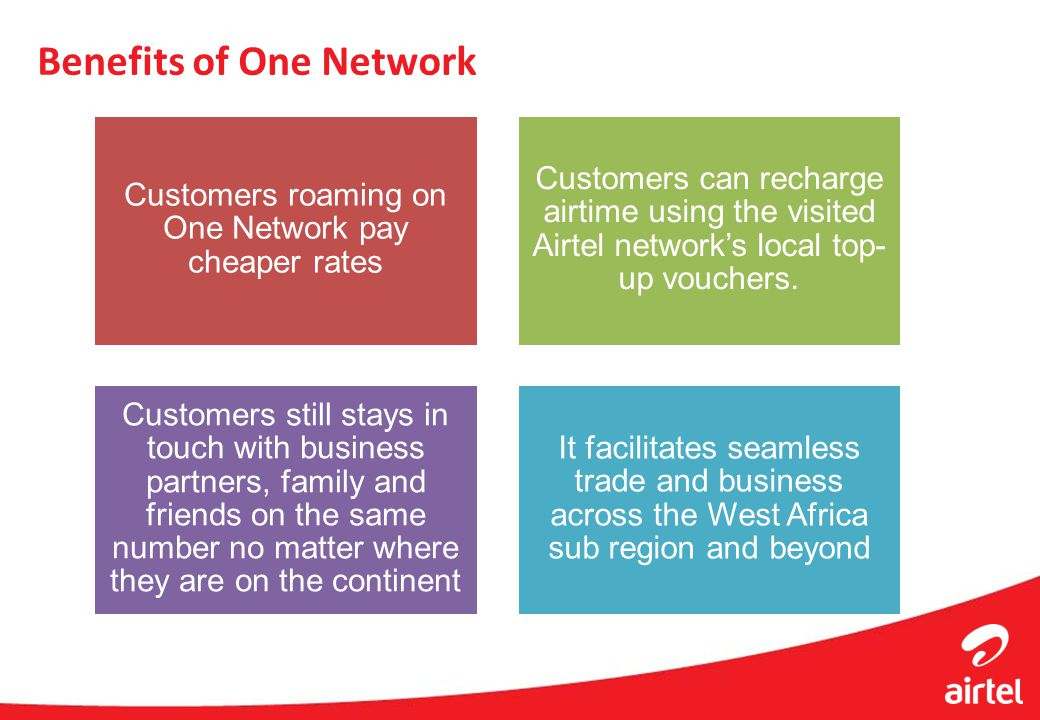 Benefits of One Network Customers roaming on One Network pay cheaper rates Customers can recharge airtime using the visited Airtel networks local top-