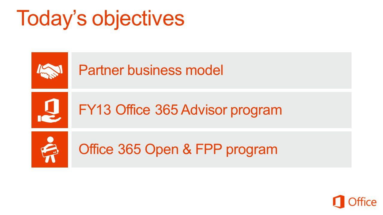 Partner business model FY13 Office 365 Advisor program Office 365 Open & FPP program