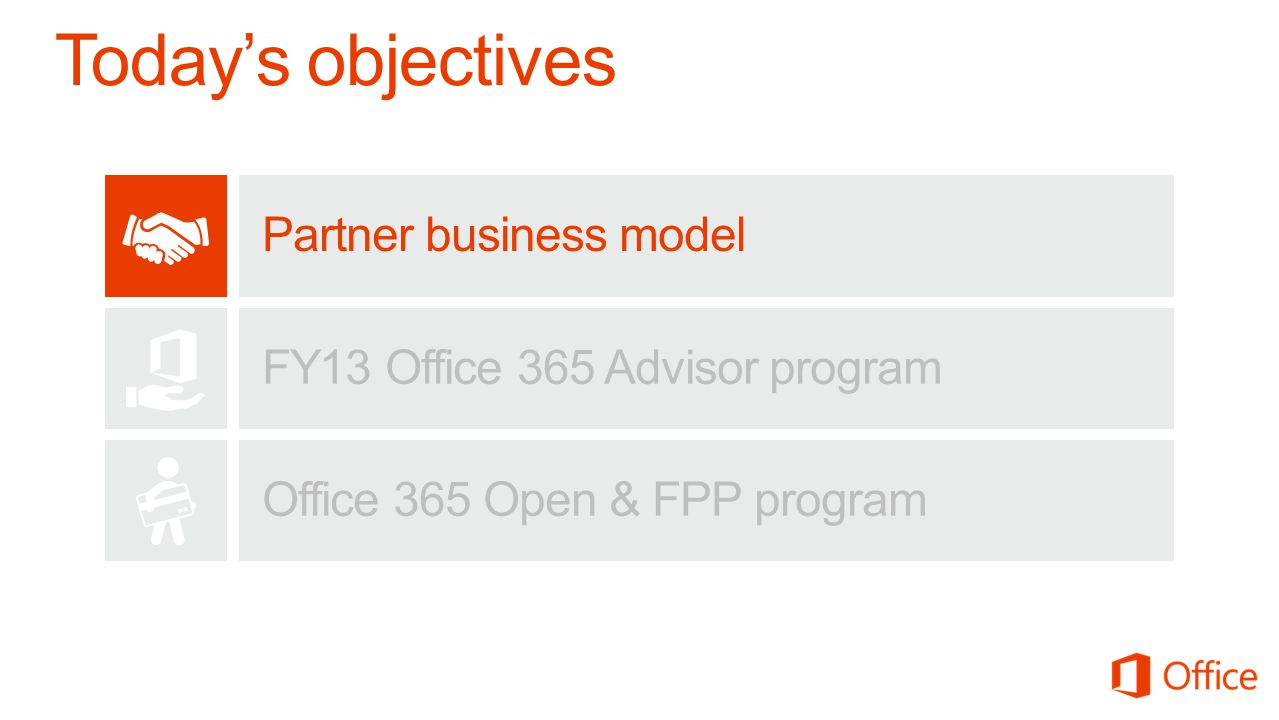 Partner business model FY13 Office 365 Advisor program Office 365 Open & FPP program