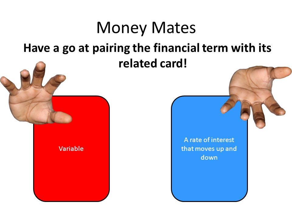 Money Mates Have a go at pairing the financial term with its related card.