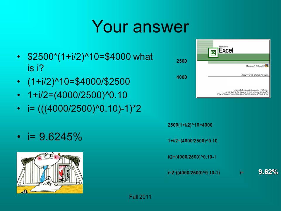 Fall 2011 Your answer $2500*(1+i/2)^10=$4000 what is i? (1+i/2)^10=$4000/$2500 1+i/2=(4000/2500)^0.10 i= (((4000/2500)^0.10)-1)*2 i= 9.6245% 2500 4000