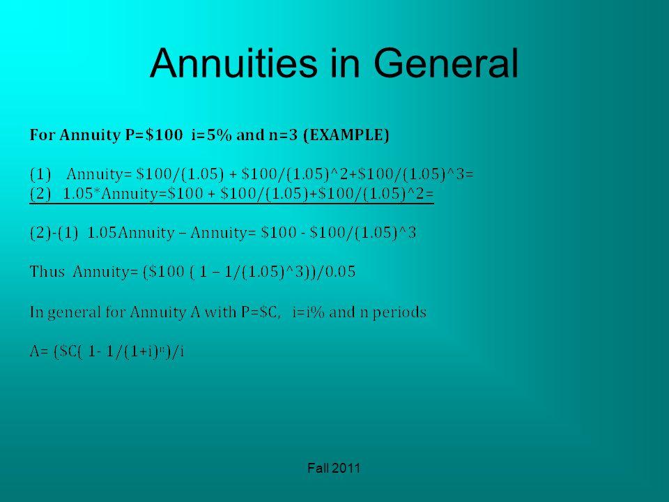 Annuities in General Fall 2011