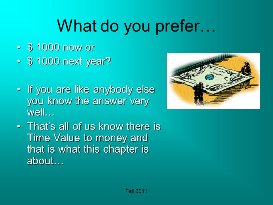Fall 2011 What do you prefer… $ 1000 now or$ 1000 now or $ 1000 next year $ 1000 next year.