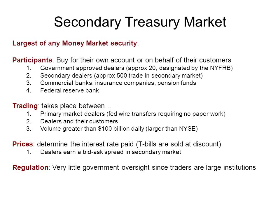 Secondary Treasury Market Largest of any Money Market security: Participants: Buy for their own account or on behalf of their customers 1.Government approved dealers (approx 20, designated by the NYFRB) 2.Secondary dealers (approx 500 trade in secondary market) 3.Commercial banks, insurance companies, pension funds 4.Federal reserve bank Trading: takes place between… 1.Primary market dealers (fed wire transfers requiring no paper work) 2.Dealers and their customers 3.Volume greater than $100 billion daily (larger than NYSE) Prices: determine the interest rate paid (T-bills are sold at discount) 1.Dealers earn a bid-ask spread in secondary market Regulation: Very little government oversight since traders are large institutions