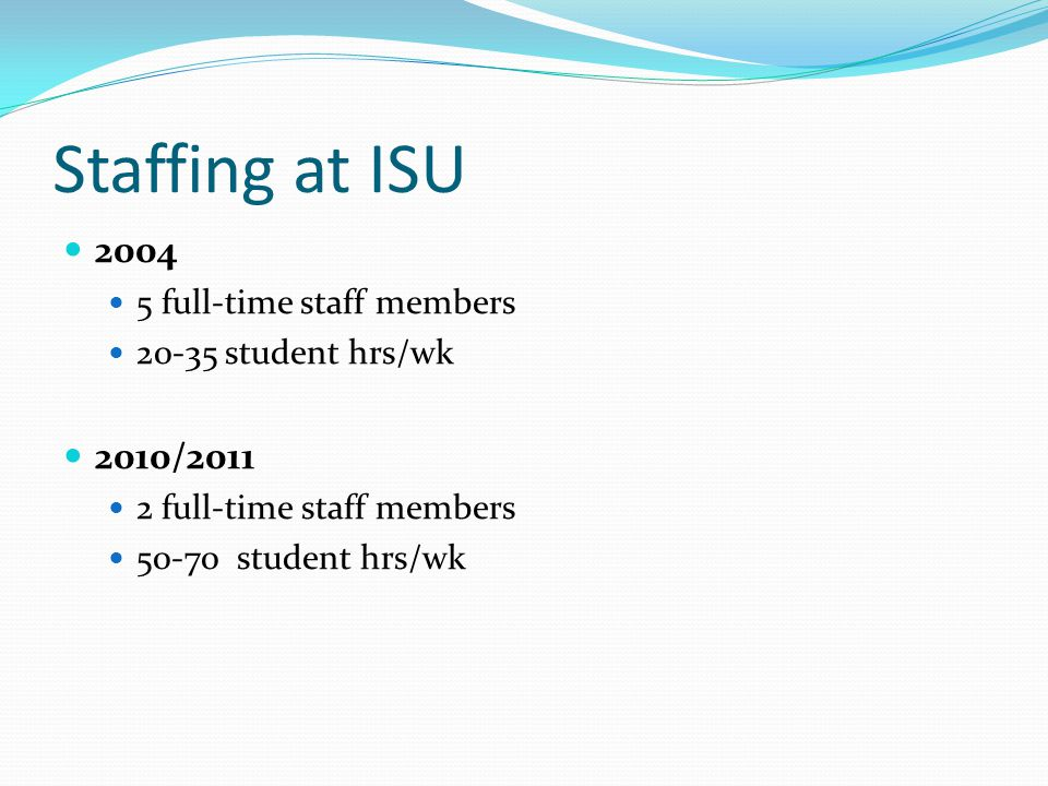Staffing at ISU 2004 5 full-time staff members 20-35 student hrs/wk 2010/2011 2 full-time staff members 50-70 student hrs/wk