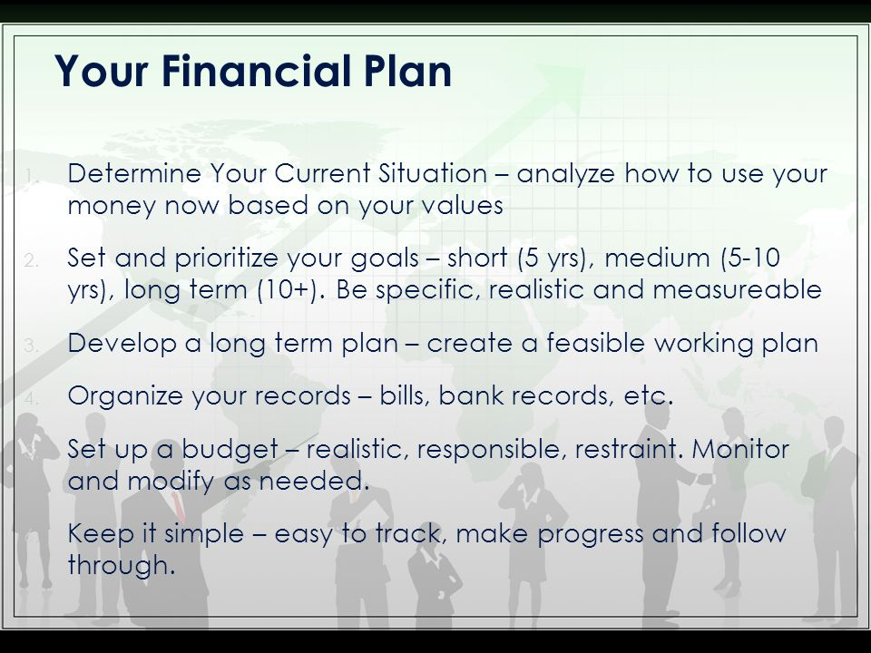 1. Determine Your Current Situation – analyze how to use your money now based on your values 2.