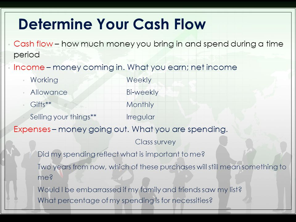 Cash flow – how much money you bring in and spend during a time period Income – money coming in.