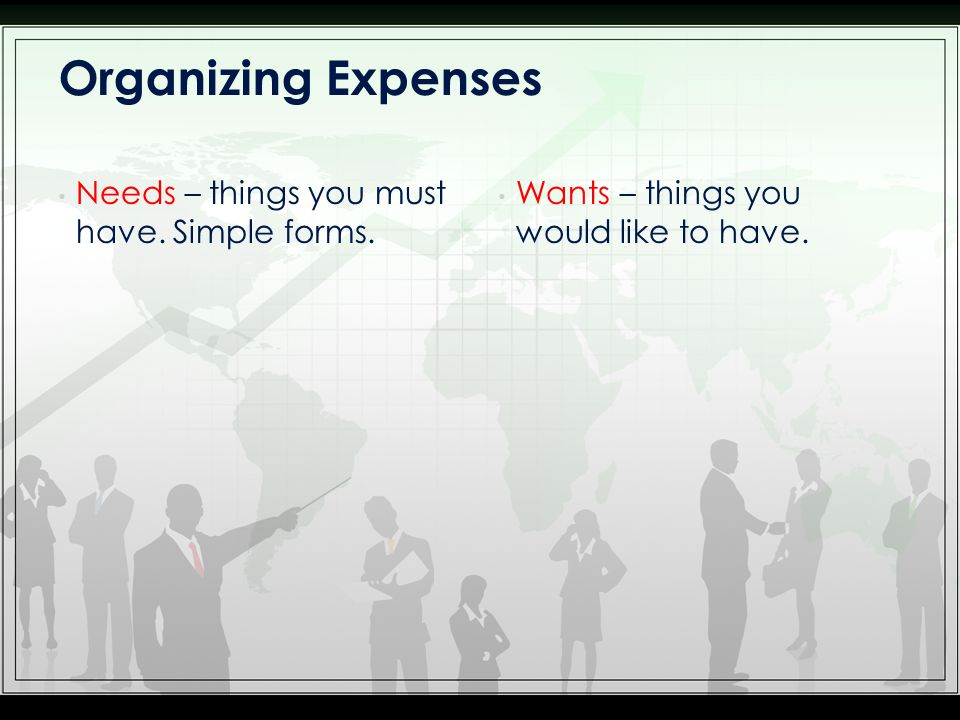Needs – things you must have. Simple forms. Wants – things you would like to have. Organizing Expenses