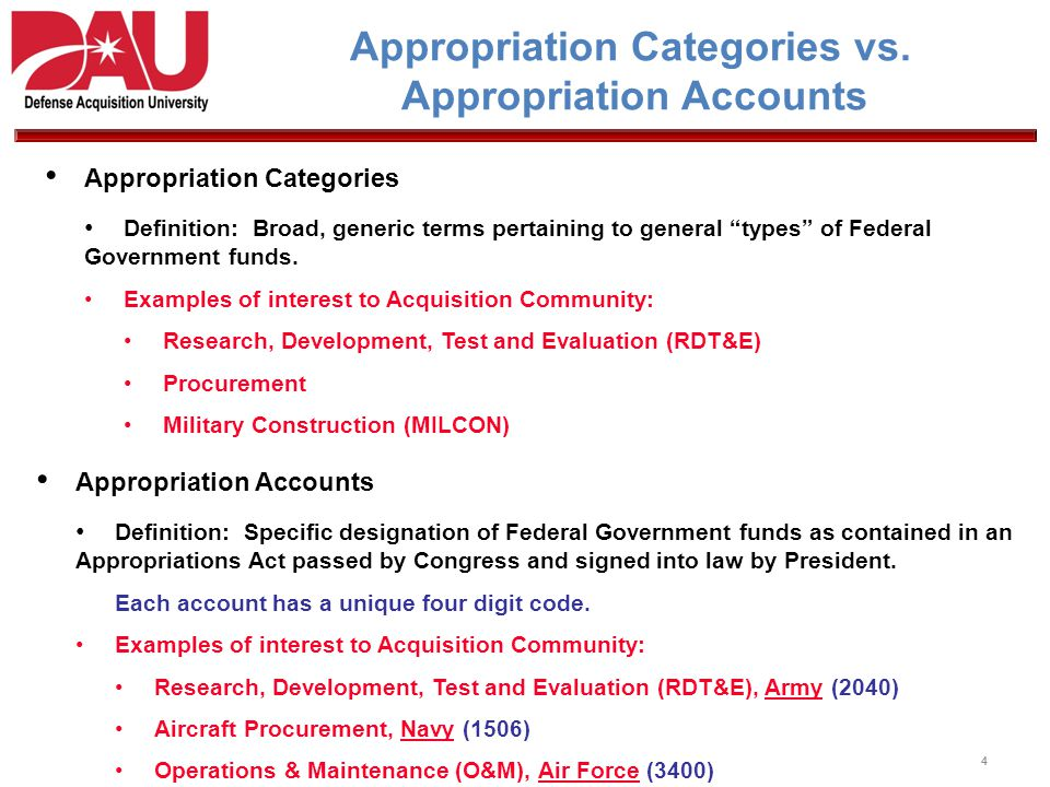 Appropriation Categories vs. Appropriation Accounts Appropriation Categories Definition: Broad, generic terms pertaining to general types of Federal G