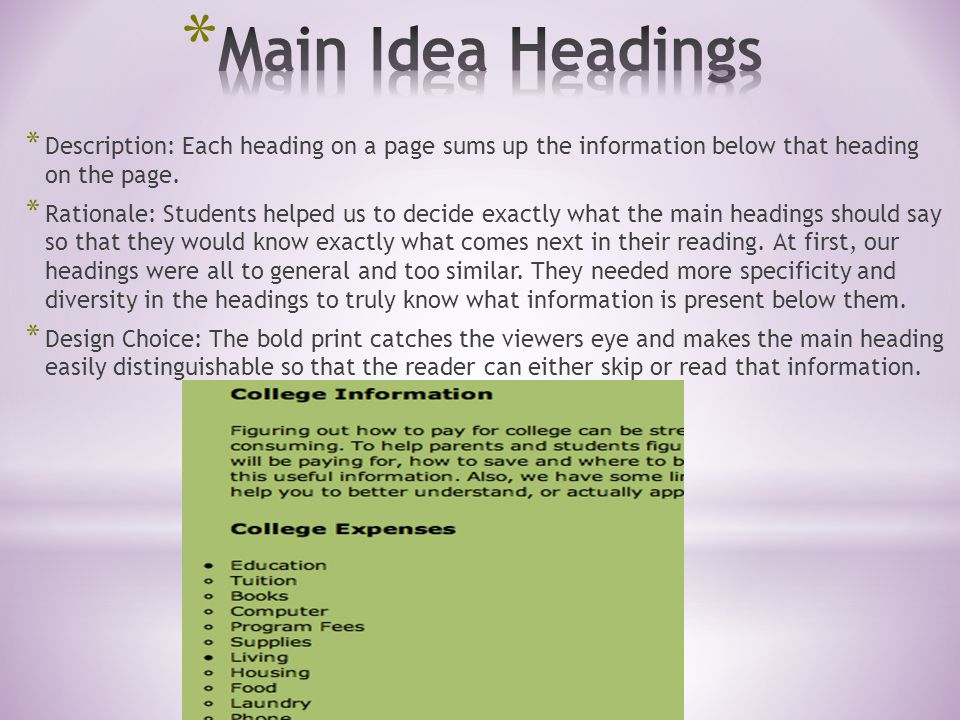 * Description: Each heading on a page sums up the information below that heading on the page.