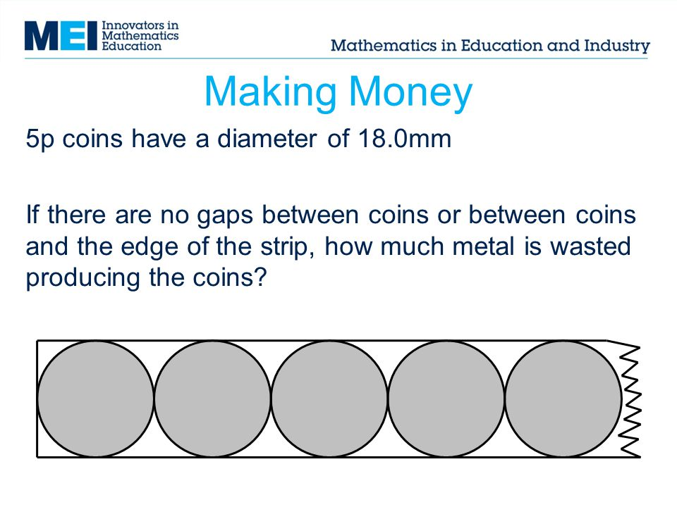 Making Money: Hint Work out the wastage for 1 circle enclosed by a square.