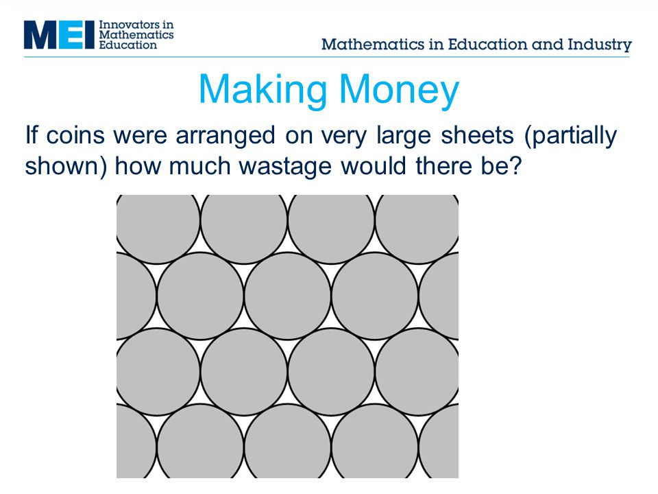 Teacher notes: Making Money Slide 10 Pupils could explore fitting coins on strips of paper, deciding whether rotating coins or having them all the same orientation will fit onto a shorter strip.