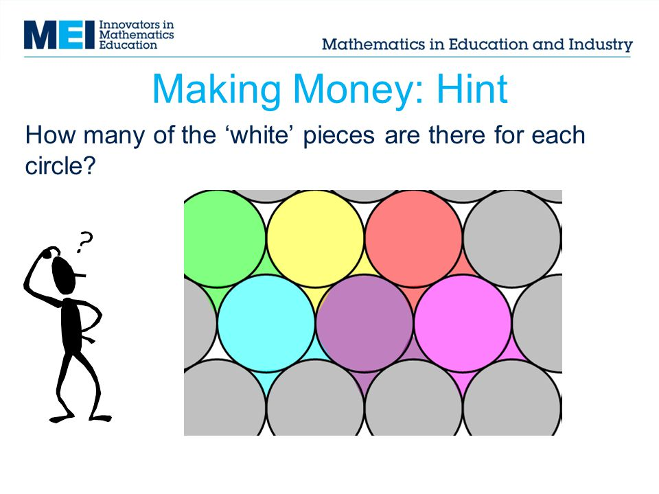 Making Money: Hint How many of the white pieces are there for each circle