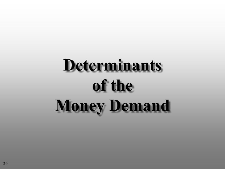 Determinants of the Money Demand 20