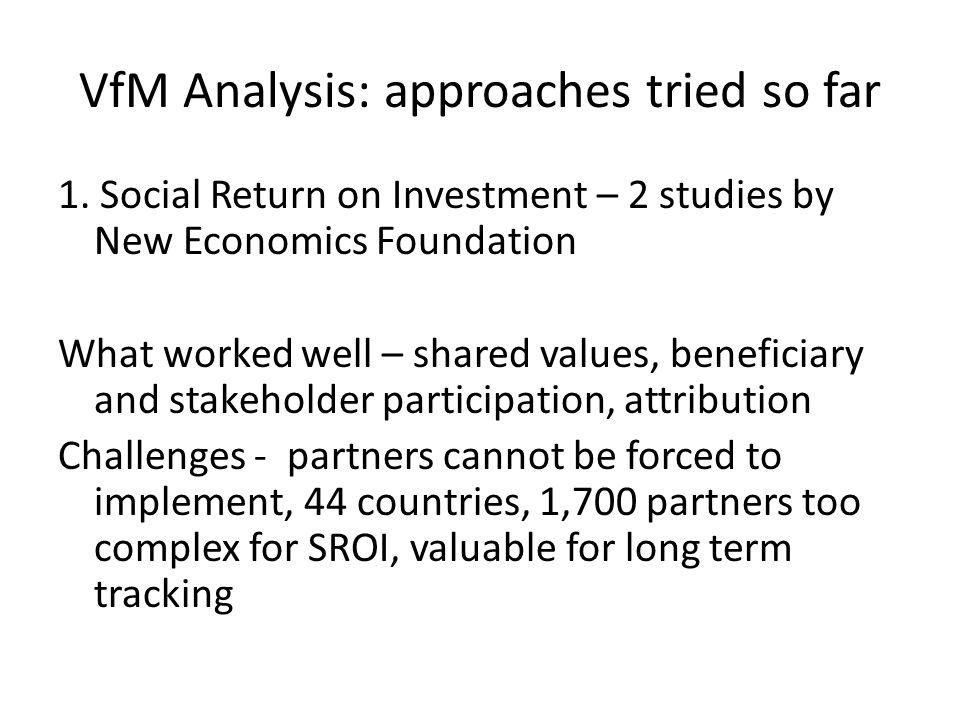 VfM Analysis: approaches tried so far 1.