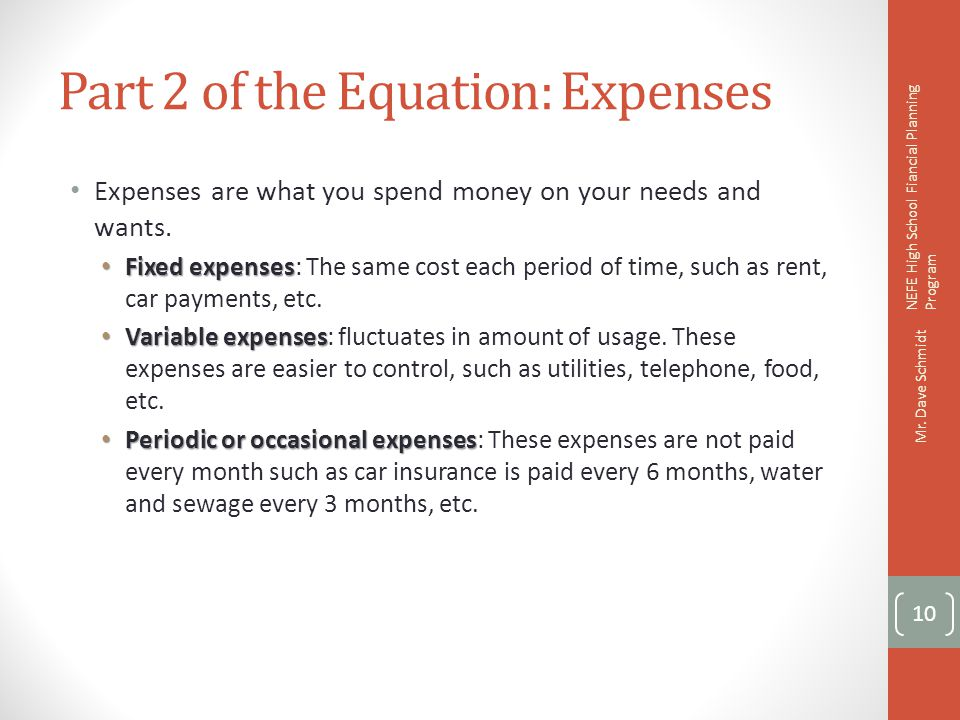 Exercise 2C: What type of Expense Is It.DescriptionFixed?Variable?Periodic.