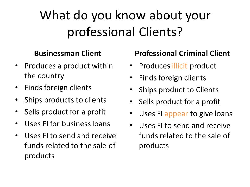 What do you know about your professional Clients.