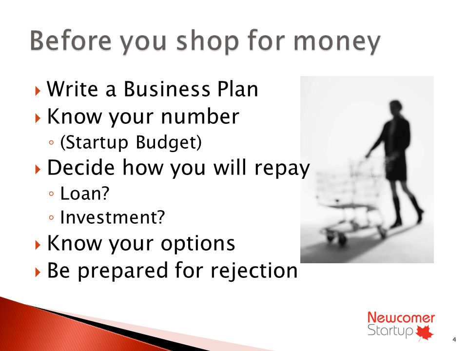 Write a Business Plan Know your number (Startup Budget) Decide how you will repay Loan.