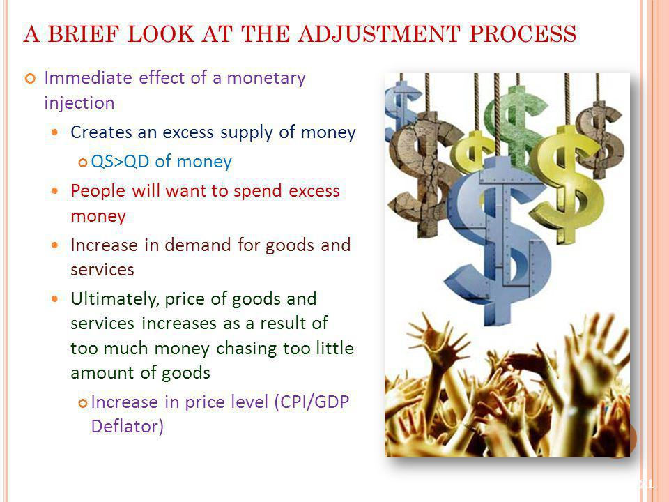 A BRIEF LOOK AT THE ADJUSTMENT PROCESS Immediate effect of a monetary injection Creates an excess supply of money QS>QD of money People will want to s