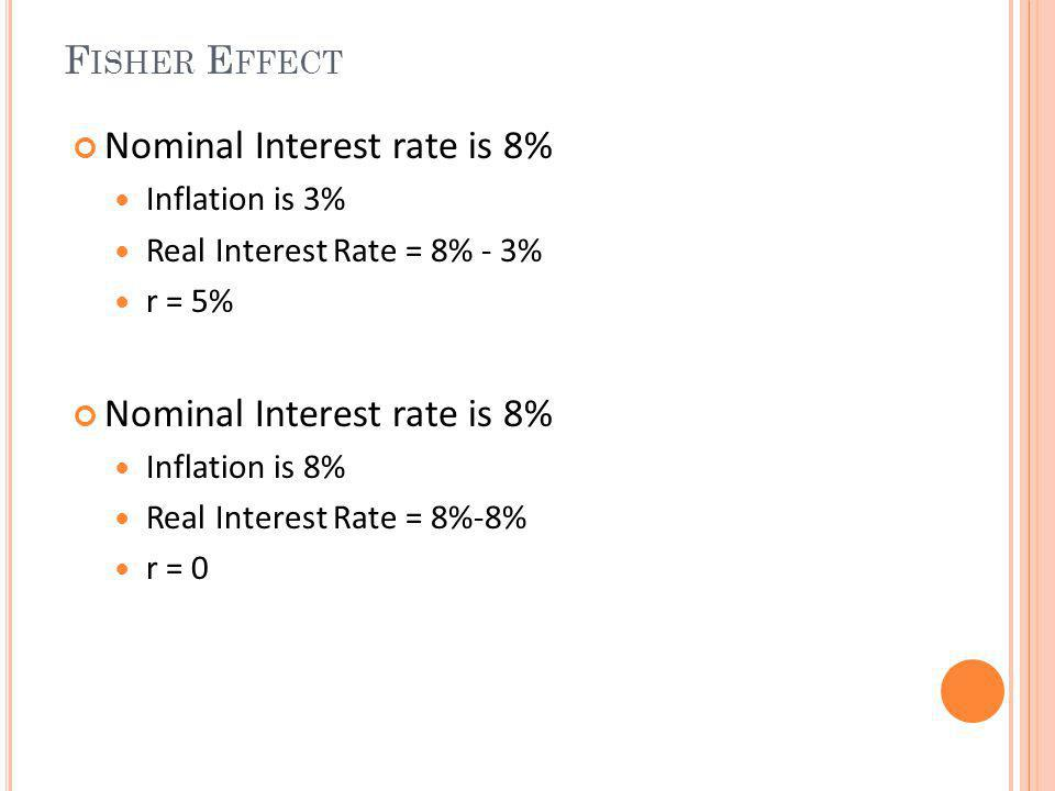 F ISHER E FFECT Nominal Interest rate is 8% Inflation is 3% Real Interest Rate = 8% - 3% r = 5% Nominal Interest rate is 8% Inflation is 8% Real Inter