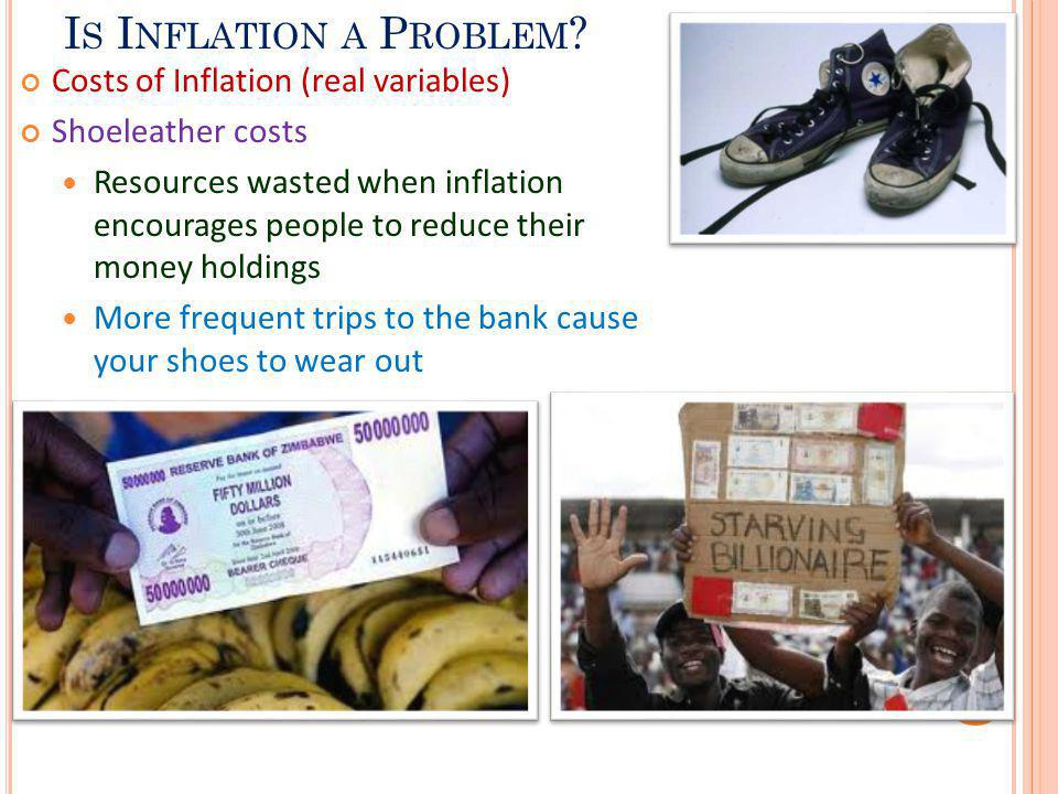 I S I NFLATION A P ROBLEM ? Costs of Inflation (real variables) Shoeleather costs Resources wasted when inflation encourages people to reduce their mo