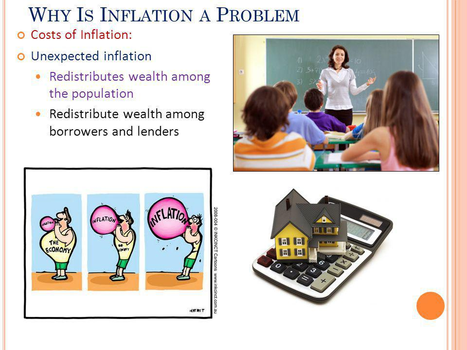 W HY I S I NFLATION A P ROBLEM Costs of Inflation: Unexpected inflation Redistributes wealth among the population Redistribute wealth among borrowers