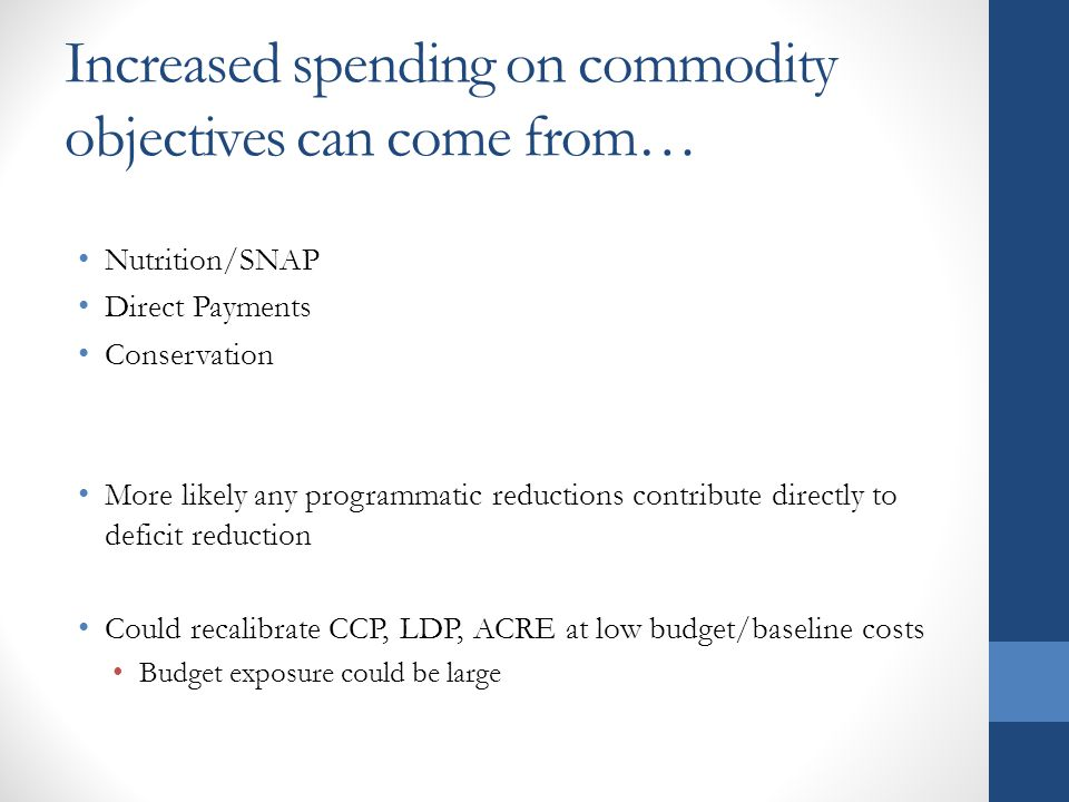 Increased spending on commodity objectives can come from… Nutrition/SNAP Direct Payments Conservation More likely any programmatic reductions contribute directly to deficit reduction Could recalibrate CCP, LDP, ACRE at low budget/baseline costs Budget exposure could be large