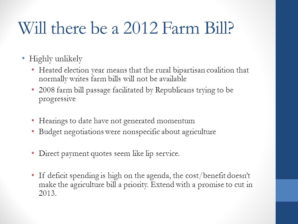 Will there be a 2012 Farm Bill.