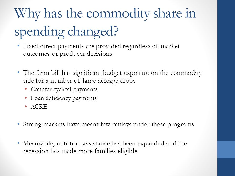 Why has the commodity share in spending changed.