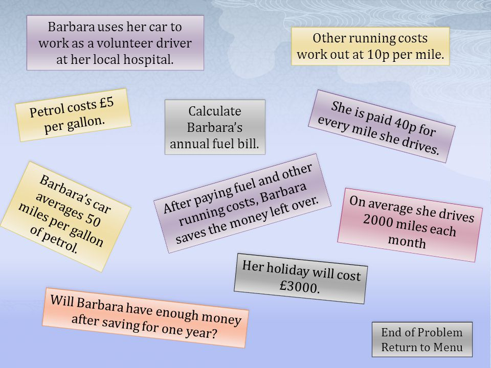 Barbara uses her car to work as a volunteer driver at her local hospital. She is paid 40p for every mile she drives. Petrol costs £5 per gallon. Calcu