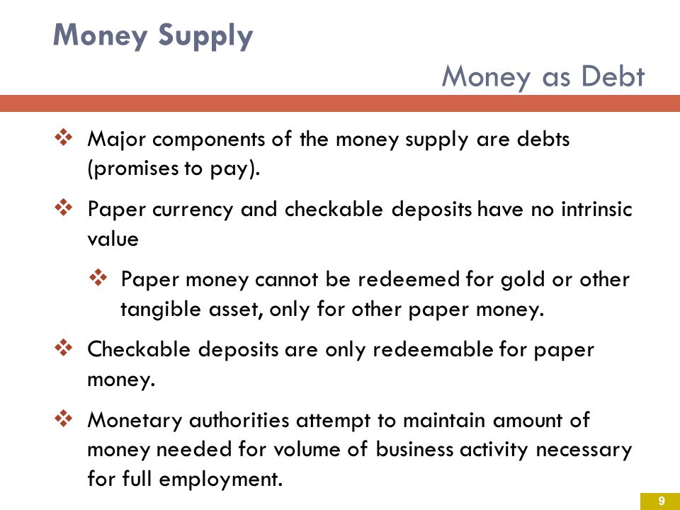 Money Supply Money as Debt Major components of the money supply are debts (promises to pay).