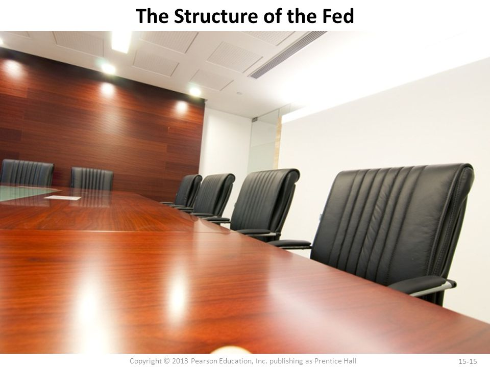 15-15 Copyright © 2013 Pearson Education, Inc. publishing as Prentice Hall The Structure of the Fed
