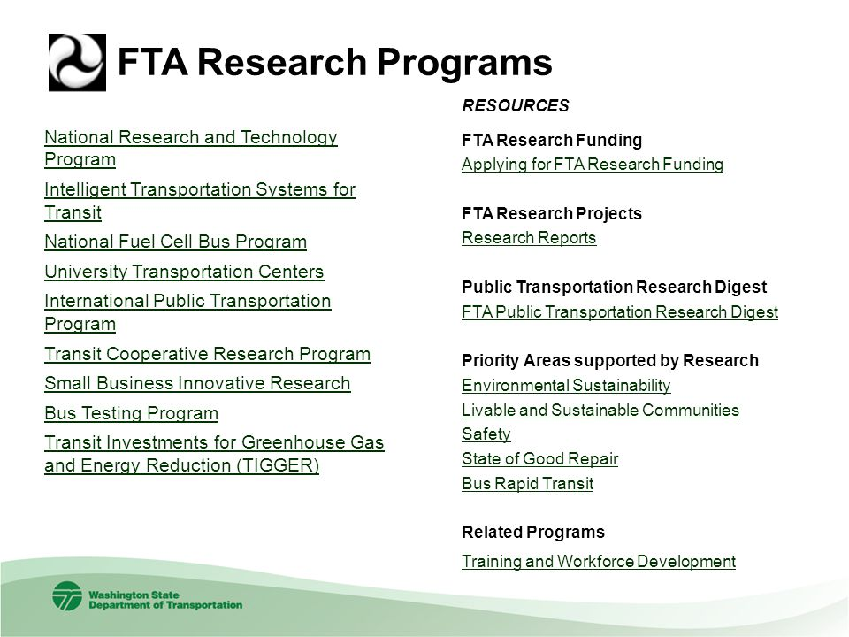 FTA Research Programs National Research and Technology ProgramNational Research and Technology Program Intelligent Transportation Systems for TransitI