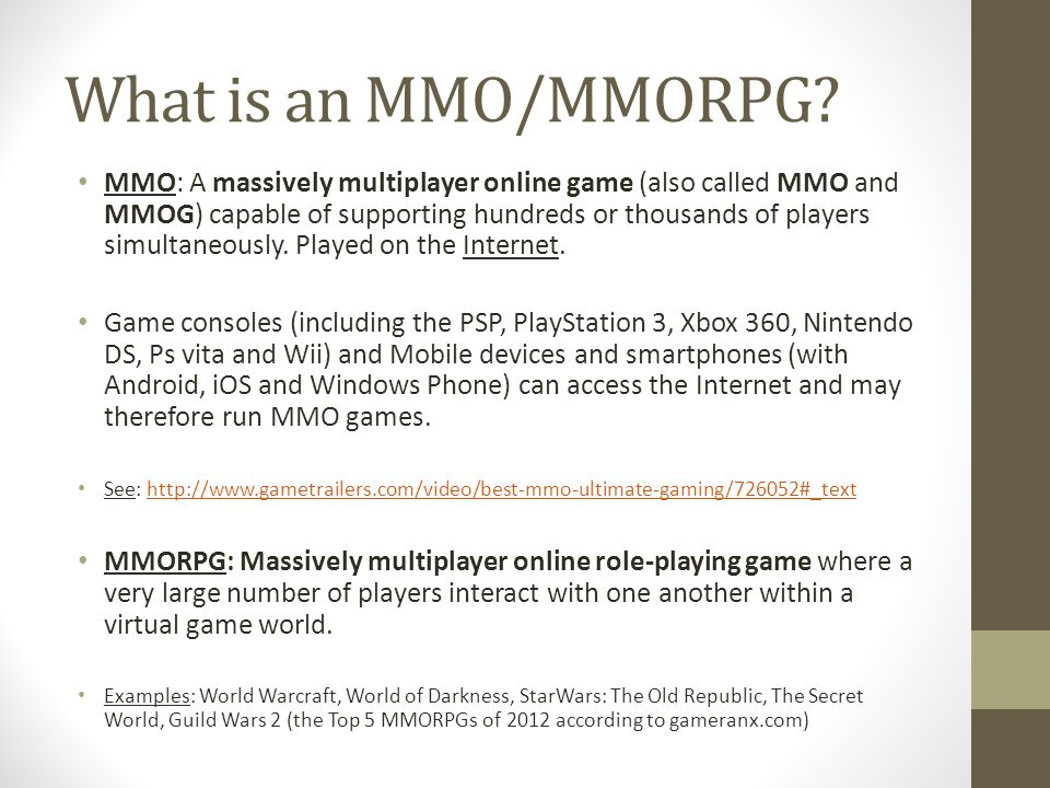 What is an MMO/MMORPG.