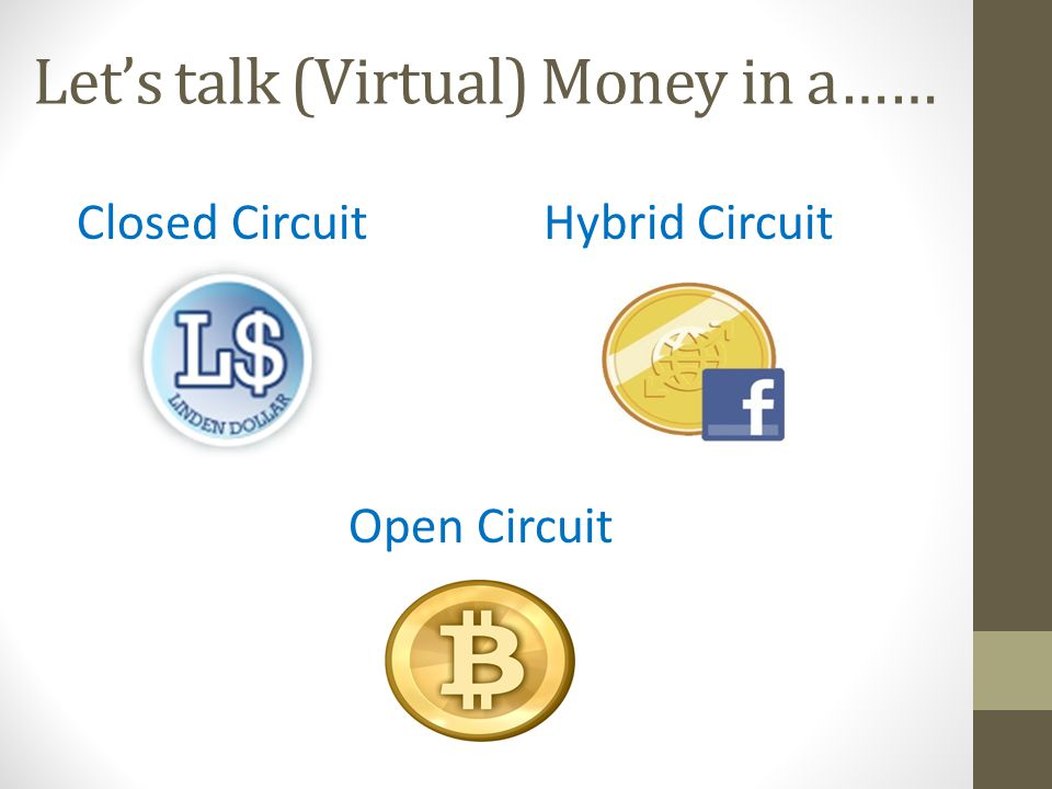 Lets talk (Virtual) Money in a…… Closed Circuit Hybrid Circuit Open Circuit