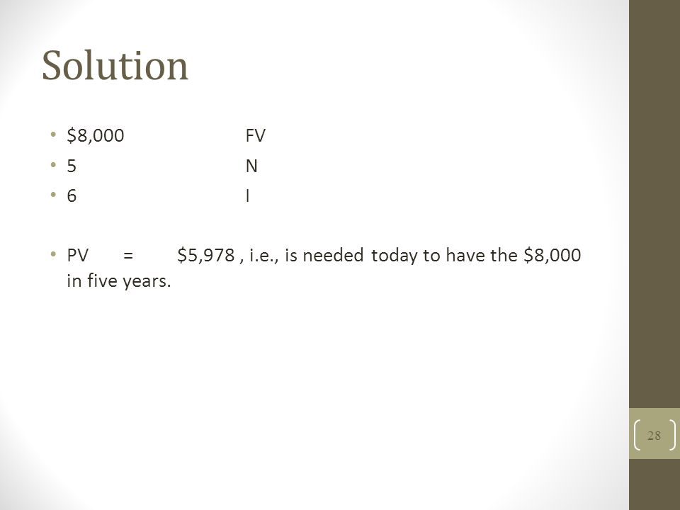 Solution $8,000FV 5N 6I PV =$5,978, i.e., is needed today to have the $8,000 in five years. 28