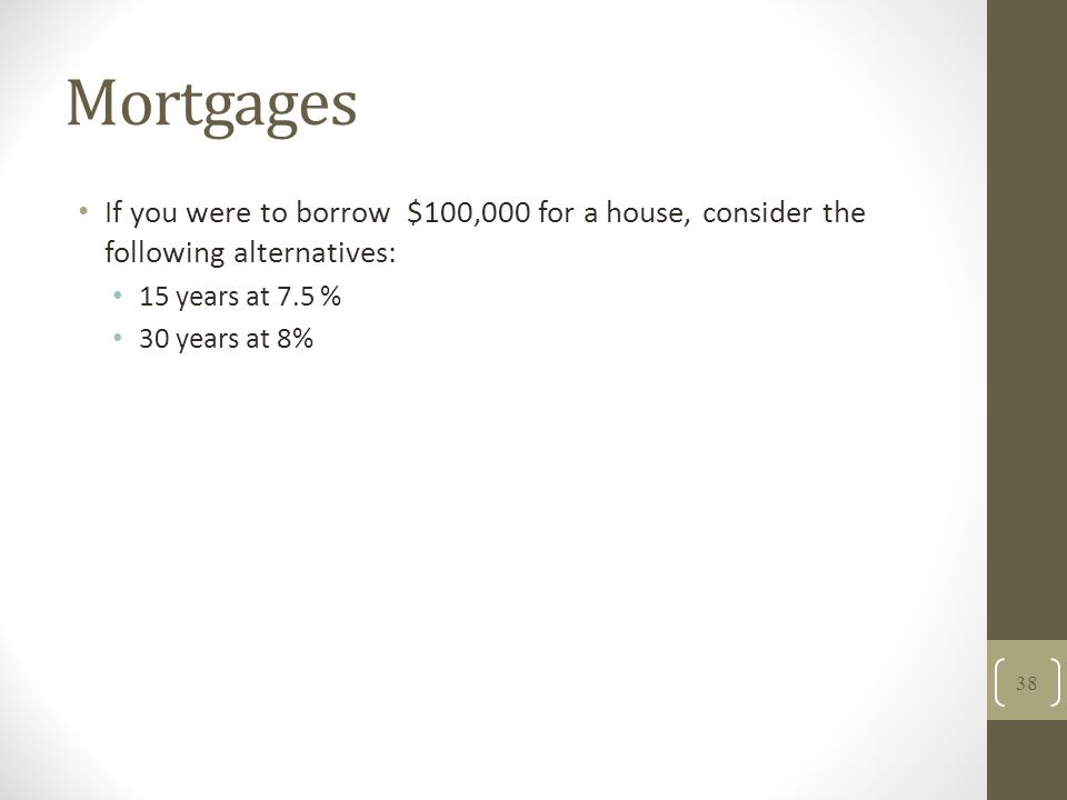 Mortgages If you were to borrow $100,000 for a house, consider the following alternatives: 15 years at 7.5 % 30 years at 8% 38