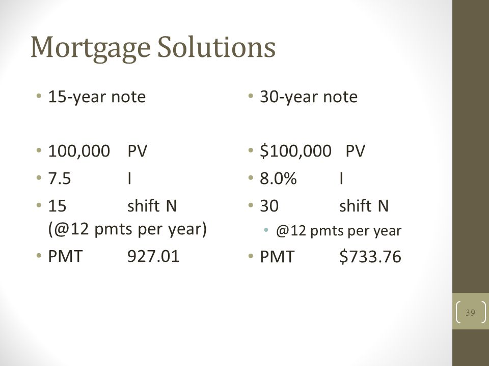 Mortgage Solutions 15-year note 100,000PV 7.5I 15shift N (@12 pmts per year) PMT927.01 30-year note $100,000 PV 8.0%I 30shift N @12 pmts per year PMT$