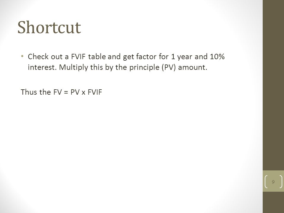 Shortcut Check out a FVIF table and get factor for 1 year and 10% interest. Multiply this by the principle (PV) amount. Thus the FV = PV x FVIF 9