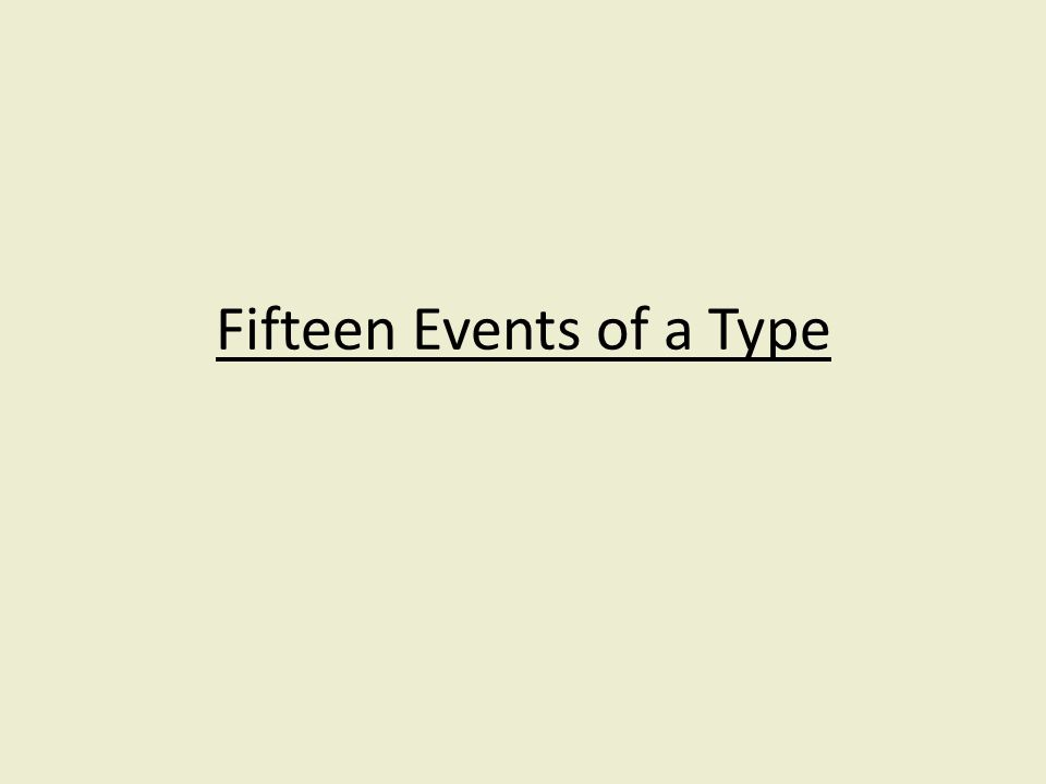 Fifteen Events of a Type
