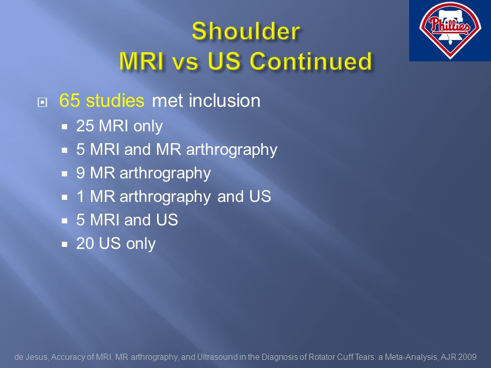 65 studies met inclusion 25 MRI only 5 MRI and MR arthrography 9 MR arthrography 1 MR arthrography and US 5 MRI and US 20 US only de Jesus, Accuracy of MRI, MR arthrography, and Ultrasound in the Diagnosis of Rotator Cuff Tears: a Meta-Analysis, AJR 2009