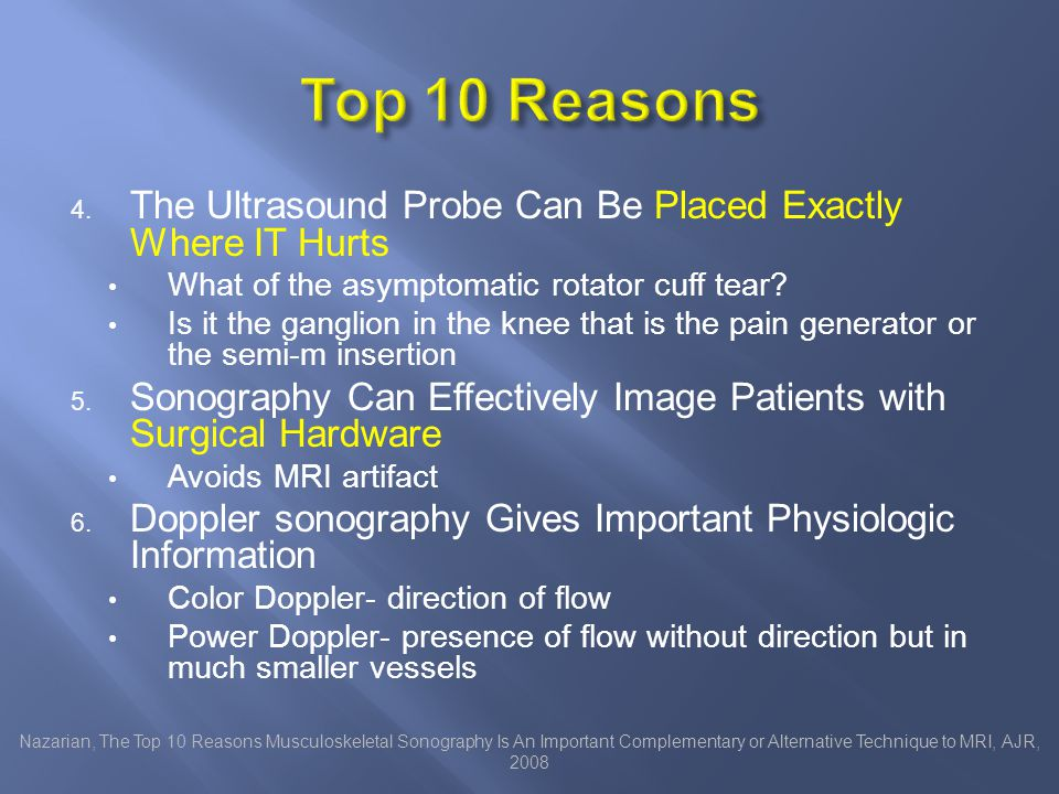 prospective study MRI: (gold standard) 27 knees in 22 patients with meniscal tears 14 knees in 14 normal volunteers All received History Clinical Exam Ultrasound MRI Park, The Value of Ultrasonography in the Detection of Meniscal Tears Diagnosed by Magnetic Resonance Imaging, Am J Phys Med and Rehab, 2008