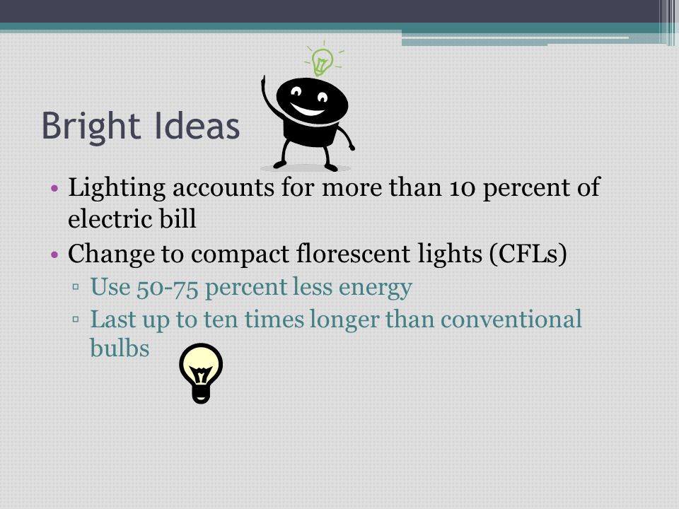 Bright Ideas Lighting accounts for more than 10 percent of electric bill Change to compact florescent lights (CFLs) Use 50-75 percent less energy Last up to ten times longer than conventional bulbs
