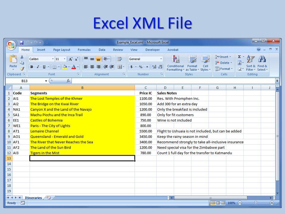 Excel XML File